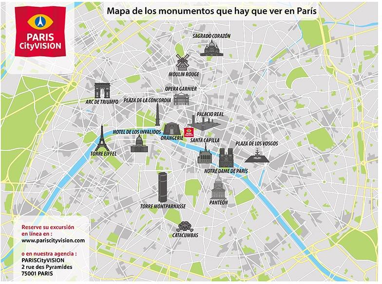 Mapa de monumentos de París: plano descargable   PARISCityVISION