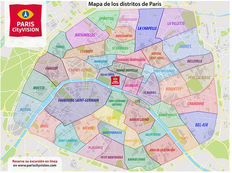 Mapa y plano descargable de los distritos de París