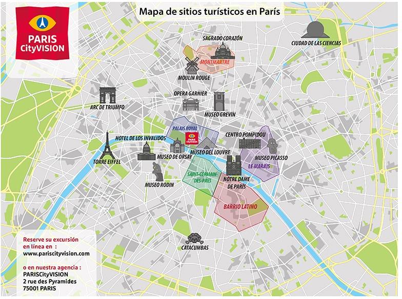mapa de paris Mapa turístico de París: plano descargable   PARISCityVISION  mapa de paris