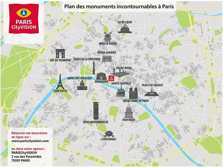 Carte des monuments de paris plan t l charger for Carte paris touristique